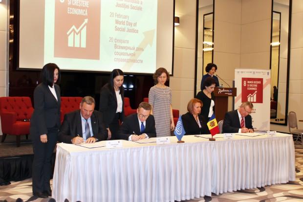 Partenerii sociali din Republica Moldova, în colaborare cu Organizaţia Internaţională a Muncii, au semnat Programul de Ţară privind Munca Decentă